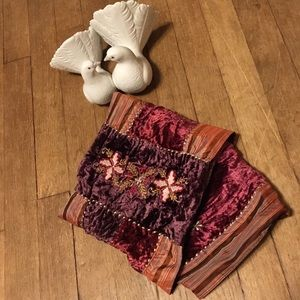 Maroon Velvet and Golden Brocade Embroidered Scarf